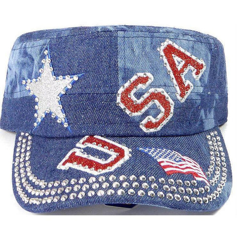 Rhinestone Cadet Cap USA Star - Splash Dark Denim-Military Republic