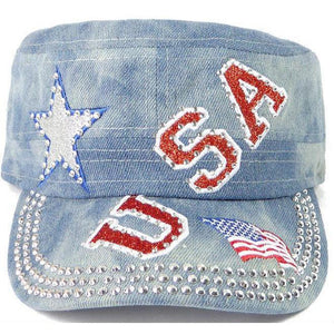Rhinestone Cadet Cap USA Star - Splash Light Denim-Military Republic