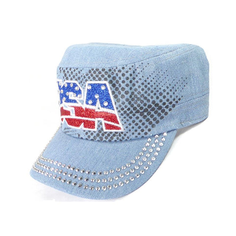 Rhinestone Cadet Hat USA - Light Denim-Military Republic