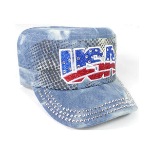 Rhinestone Cadet Hat USA - Splash Light Denim-Military Republic