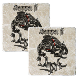 Semper Fi Chrome Dog Coaster-Military Republic