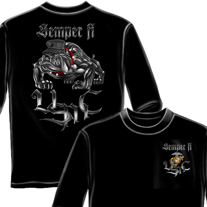 Semper Fi Chrome Dog Long Sleeve Shirt-Military Republic