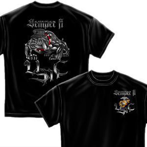Semper Fi Chrome Dog T-Shirt-Military Republic