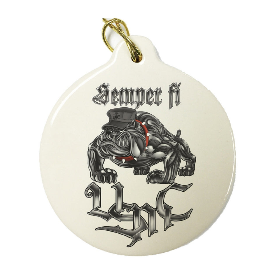 Semper Fi USMC Chrome Dog Christmas Ornament-Military Republic