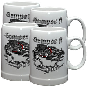 Semper Fidelis Chrome Stoneware Mug Set-Military Republic