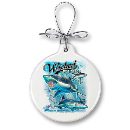 Shark Fishing Christmas Ornament