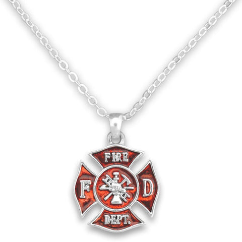 Silver Chain Firefighter Necklace