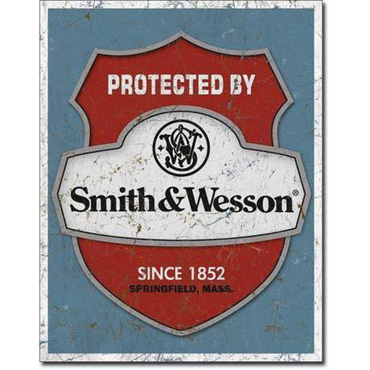 Smith & Wesson - Protected By Tin Sign-Military Republic