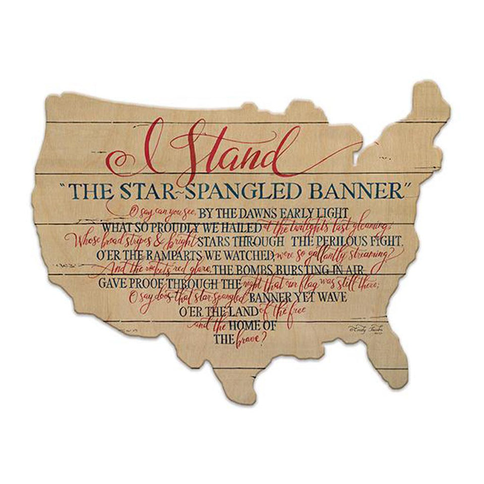 Star Spangled Banner - I Stand - Wood Cutout USA Map