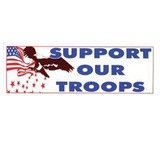 "Patriotic ""Support Our Troops"" 7.75""x3"" Bumper Sticker"