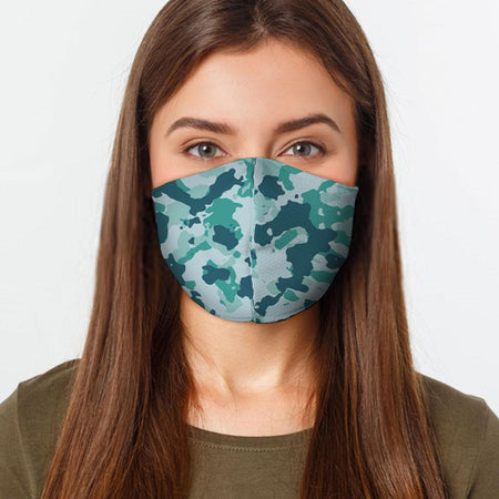 Teal Camo Face Cover - Multiple Sizes