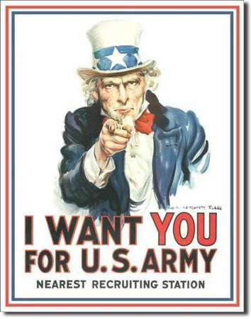 "Uncle Sam ""I Want You"" Tin Sign-Military Republic"