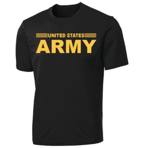 United States Army Stripe Full Front on Black Performance T-Shirt