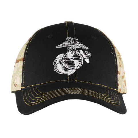 United States Marines Corps Black on Camo Cap