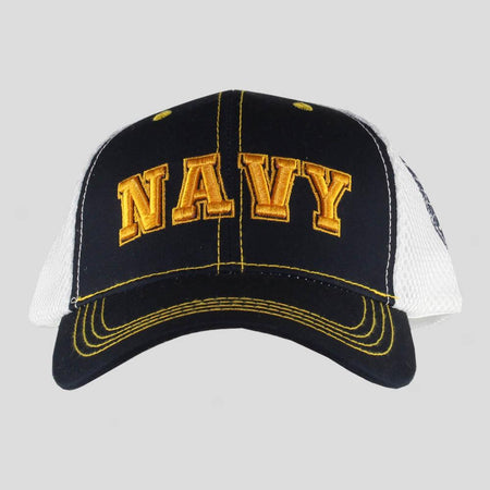United States Navy Black on White Mesh Cap