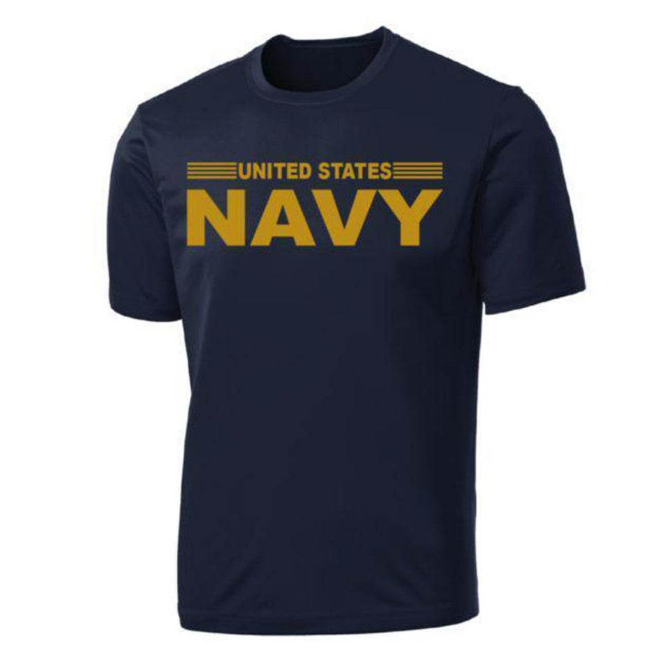 United States Navy Stripe Full Front on Blue Performance T-Shirt