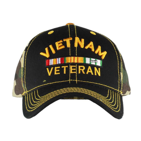 United States Vietnam Veteran Black on Camo Cap