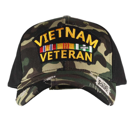 United States Vietnam Veteran Camo & Black Distressed Cap