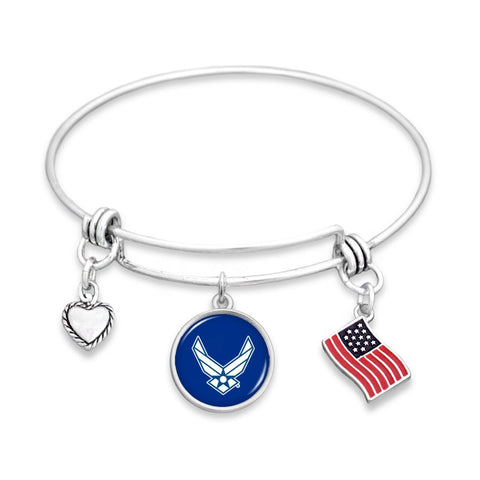 U.S. Air Force 3 Charm Bracelet with American Flag