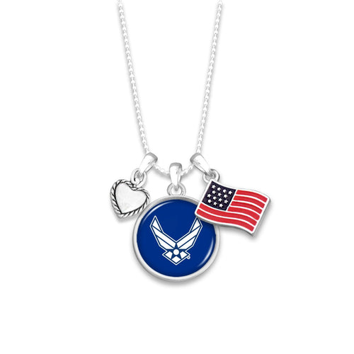 U.S. Air Force 3 Charm Necklace with American Flag