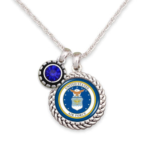 U.S. Air Force Blue Crystal Necklace