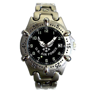 US Air Force Chrome Brass Metal Case Wrist Watch-Military Republic
