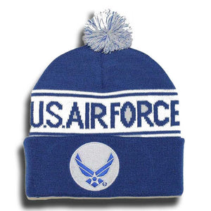 ffe15bf4f8c U.S Air Force Pom Pom Knit Cap-Military Republic