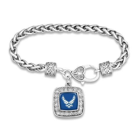 U.S. Air Force Square Crystal Bracelet