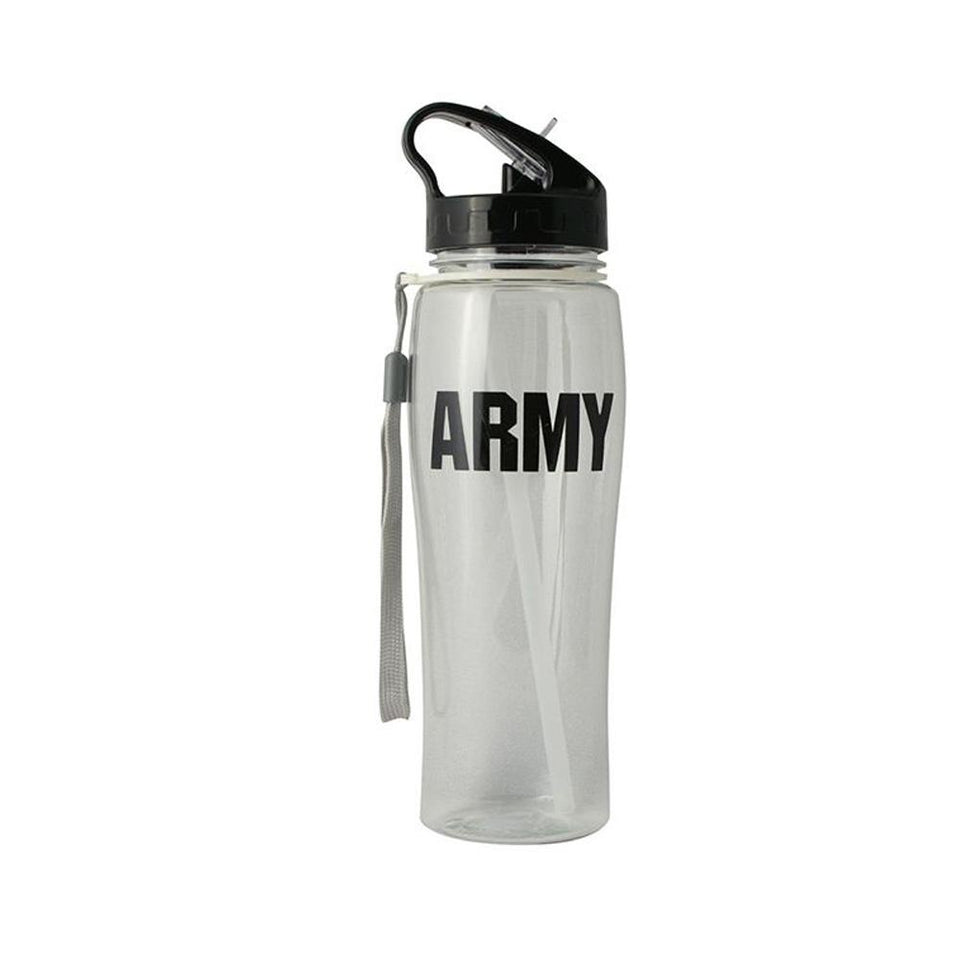 U.S. ARMY Block Font in Black Imprinted on Clear Water Bottle
