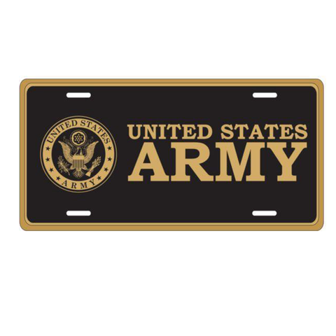 US Army Crest in Gold on Black Metal License Plate
