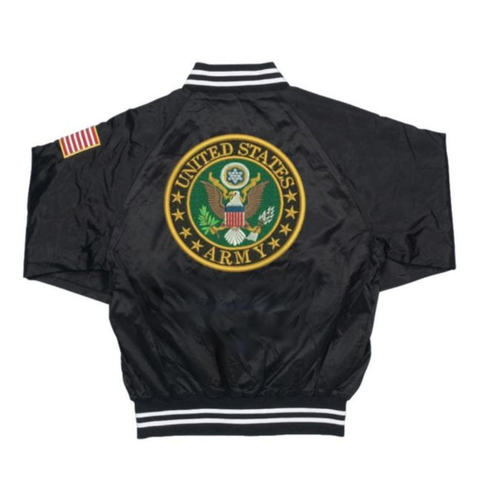 U.S. Army Crest Patch on Black Satin Jacket