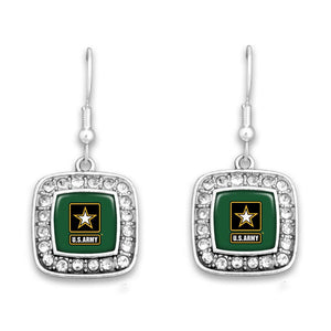 U.S. Army Crystal Square Earrings with Army Star Logo