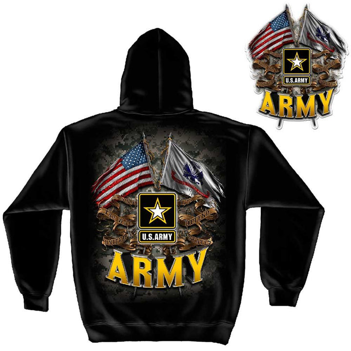 "US Army Double Flag Hoodie + 2"" Decal-Military Republic"