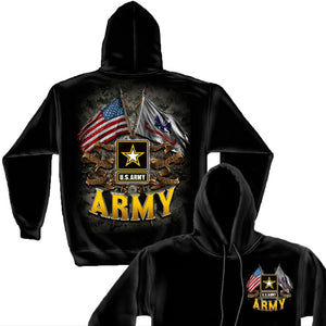 US Army Double Flag Hoodie-Military Republic