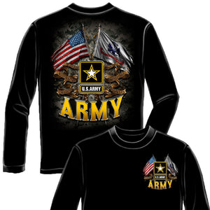 US Army Double Flag T Shirt-Military Republic