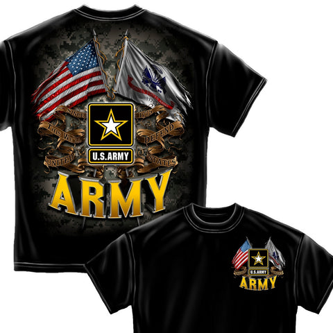 US Army Double Flag T Shirt-Claris Deals
