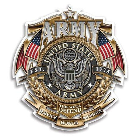 US Army Gold Shield Badge Of Honor Decal