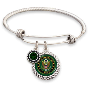 U.S. Army Green Crystal Bracelet