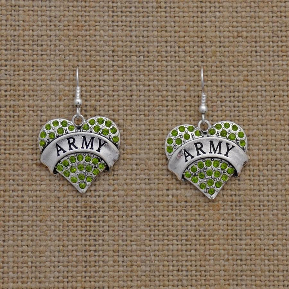 US Army Heart Earrings-Military Republic