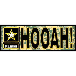 "U.S. Army  ""HOOAH"" Digital Camo 3 x 9 inch Bumper Sticker"