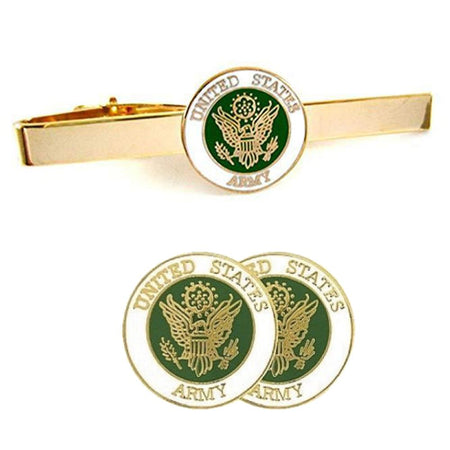 U.S. Army Insignia Cuff Links + Tie Bar Gift Set