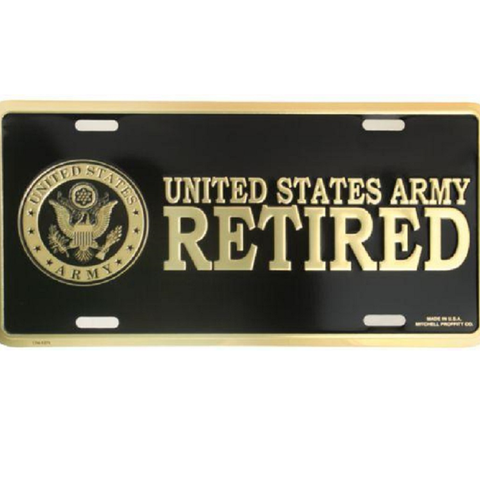 U.S. Army Retired Crest in Gold on Black Metal License Plate