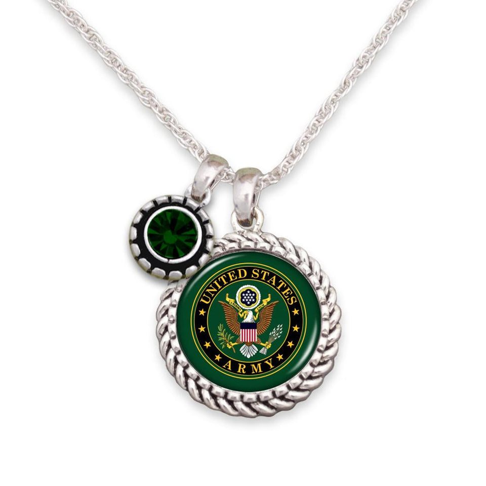 US Army Round Charm Insignia and Green Stone Necklace