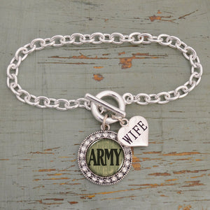 U.S. Army® Round Charm Toggle Bracelet for Army Wife