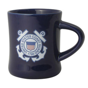 U.S. Coast Guard Crest on 8oz Blue Diner Mug
