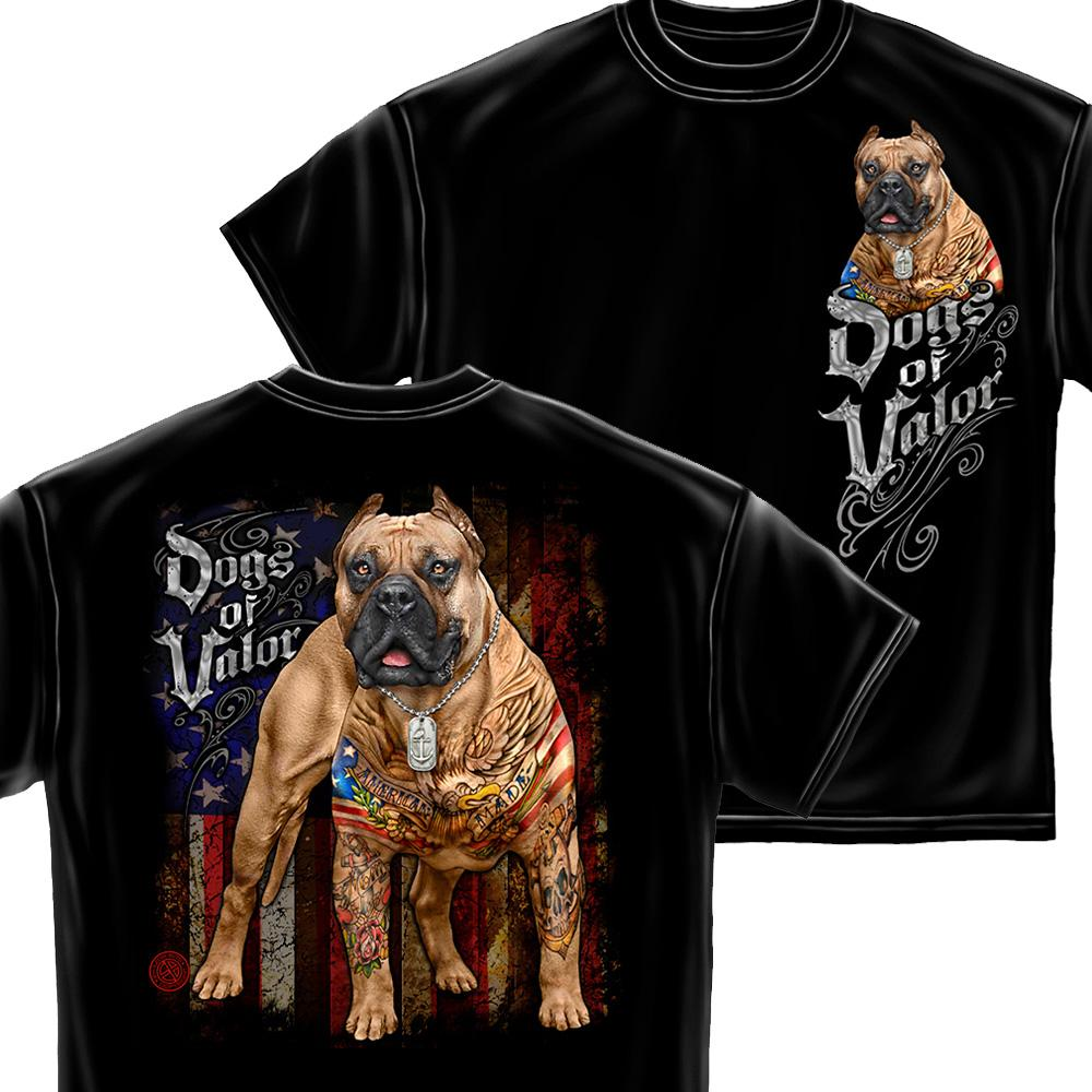 U.S. Dogs Of Valor American Made Pit Bull T-Shirt-Military Republic