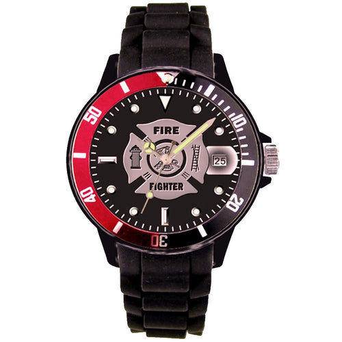 US Firefighter Red/Black Rotating Bezel Wrist Watch-Military Republic