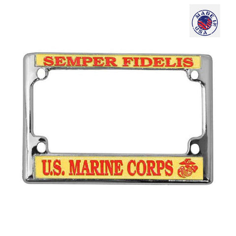 US Marine Corps Semper Fidelis Chrome Metal Motorcycle License Plate Frame