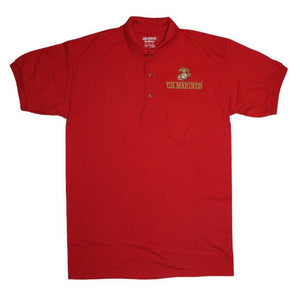 U.S. Marines Golf Shirt with Pocket - Red-Military Republic