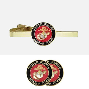 U.S. Marines Insignia Cuff Links + Tie Bar Gift Set